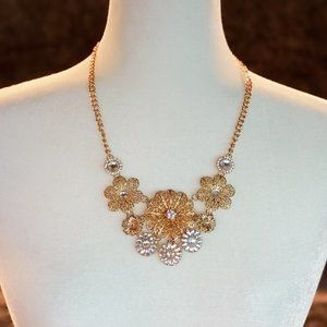 Gold & Silver Tone Flower Statement Necklace